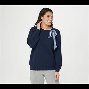 Any Body French Terry Pullover With Neck Bow